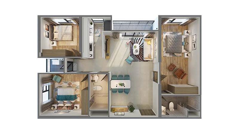 căn 3 phòng ngủ +