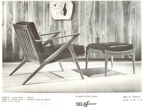 "Paul Jensen for Seilg Mid Century Danish Modern ""Z"" Lounge Chairs Advertisment Ad"