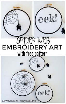 spider web embroidery art with free pattern