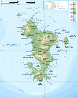 Carte de Mayotte au sein de l'Océan Indien