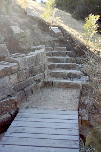 Dry laid stone stair in progress