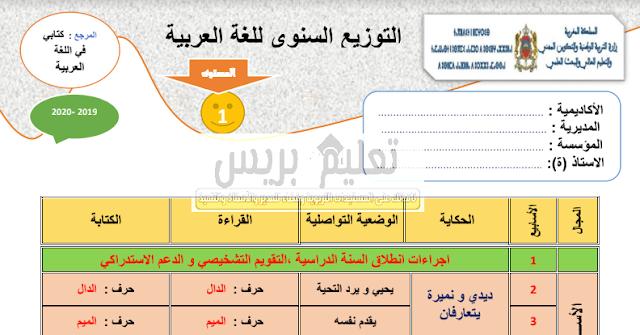التوزيع السنوي للغة العربية المستوى الاول ابتدائي مرجع كتابي في اللغة العربية 2019- 2020