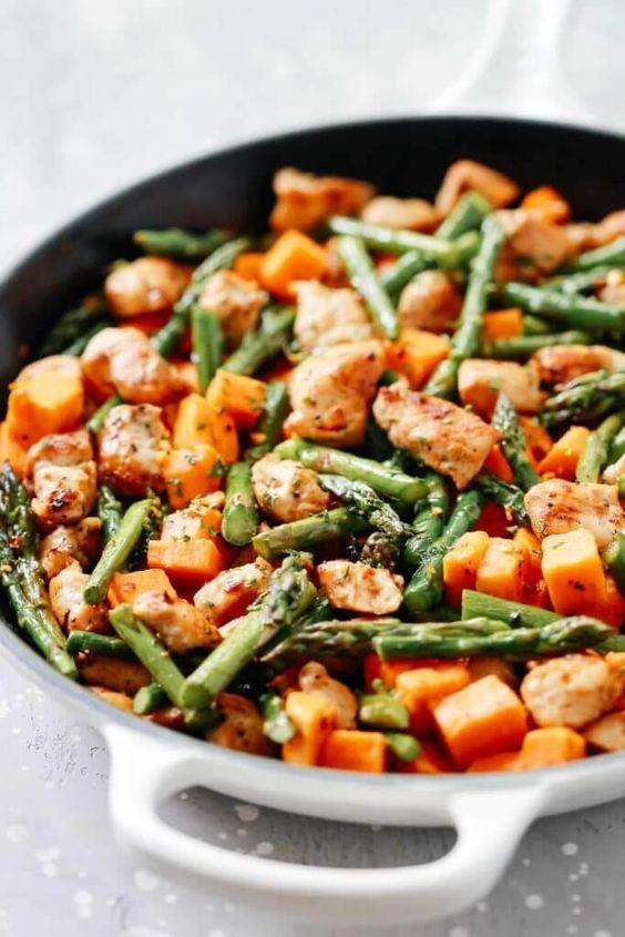Asparagus Sweet Potato Chicken Skillet