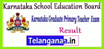Karnataka School Education Board Graduate Primary Teacher Result