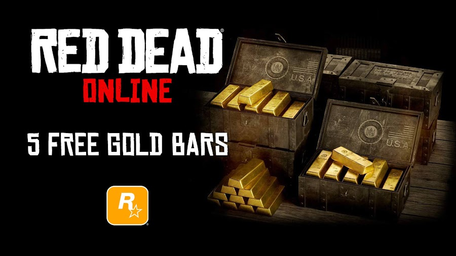 red dead online 5 free gold bars reward april 2020 multiplayer double xp event rockstar games pc ps4 xb1