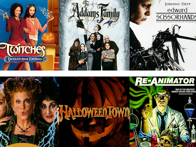 Movie posters for: Twitches, Addams Family, Edward Scissorhands, Hocus Pocus, HalloweenTown, and The Re-Animator
