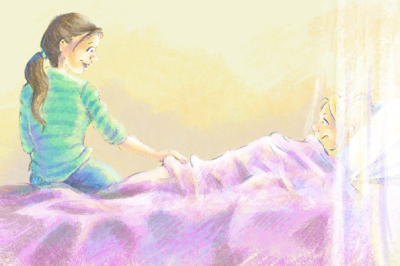 book illustration of mom talking with her daughter