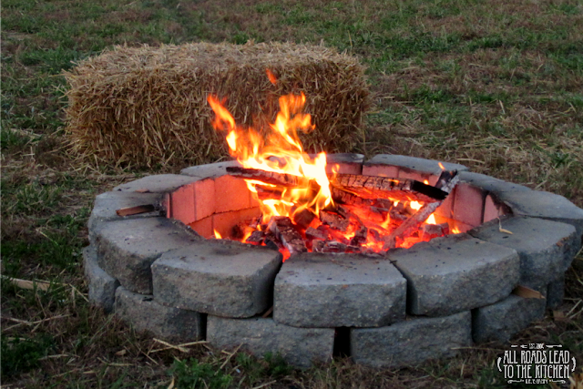 The fire pits at the Shipshewana Corn Maze are perfect as the sun sets.