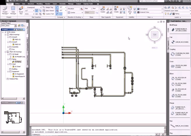How to piping systems Pipie 3D drawing with AutoCAD Plant