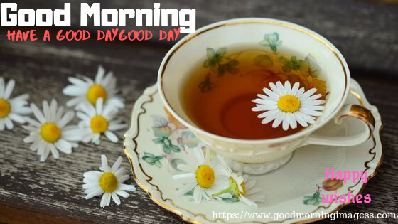 Good Morning Images with beautiful flower cup of tea