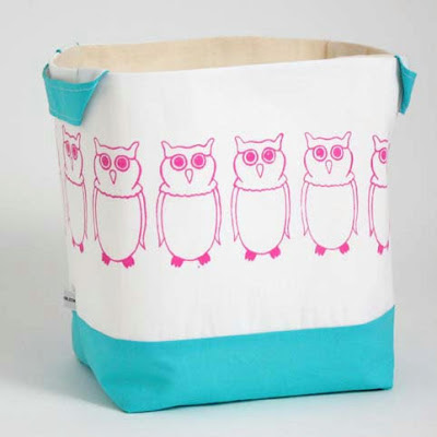 fabric storage basket with owls wearing glasses