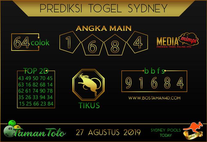 Prediksi Togel SYDNEY TAMAN TOTO 27 AGUSTUS 2019