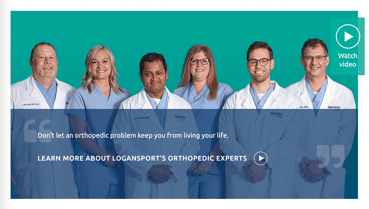 Screengrab of one of Logansport Memorial Hospital's service line webpages with professional headshots of their doctors