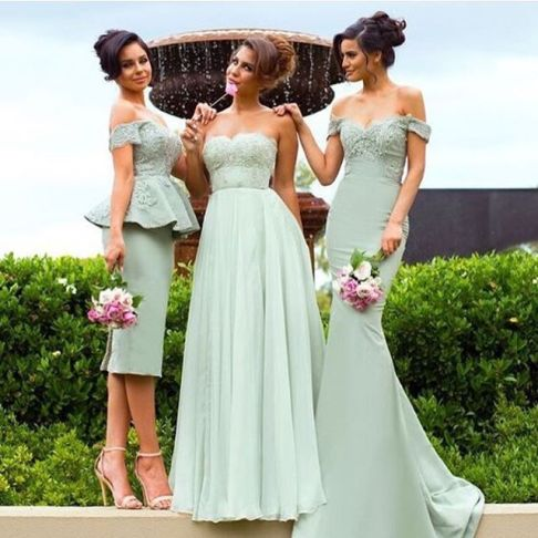 Off-the-Shoulder Gorgeous Lace Mermaid Bridesmaid Dress- Factory price: US $170.00