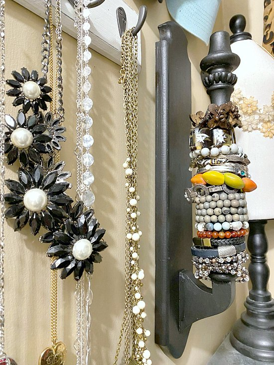 Jewelry and Bracelet organization using a repurposed chair