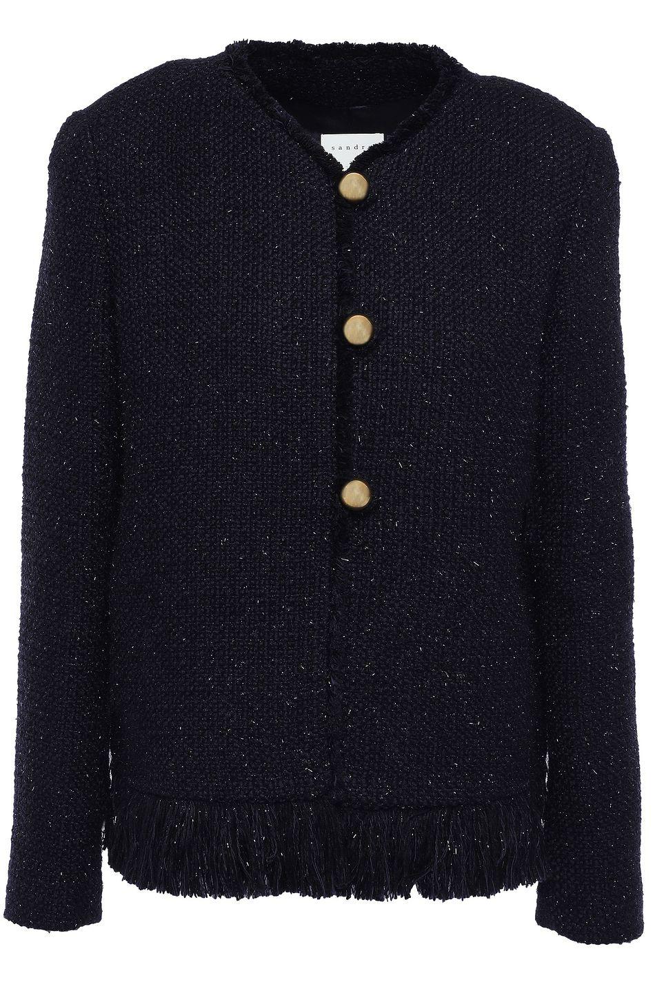Crown Princess Mary was wearing Sandro Paris fringe-trimmed metallic tweed jacket