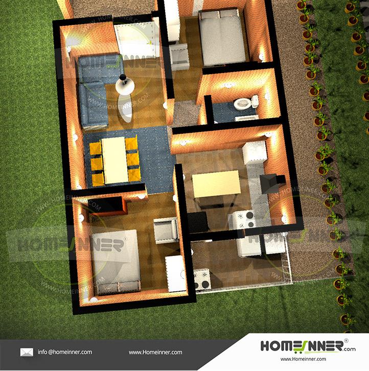 2 bedroom flat plan drawing