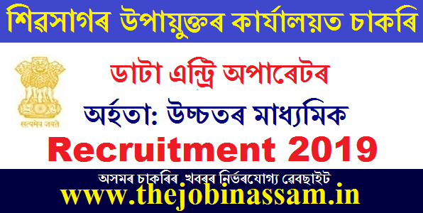 DC Office, Sivasagar Recruitment 2019: Data Entry Operator [Walk-in-interview]