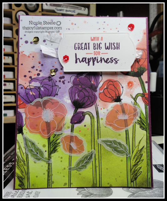 Birthday card using Stampin' Up!'s Peaceful Poppies suite & Sending You Thoughts set | by Nicole Steele The Joyful Stamper