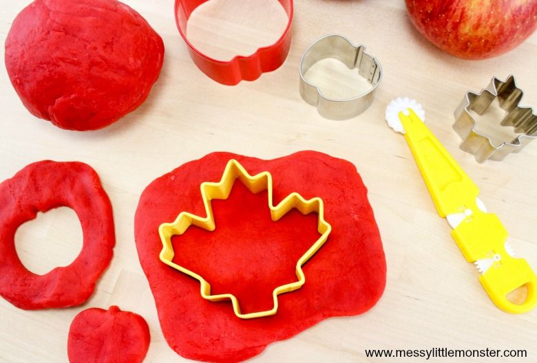 Apple scented playdough autumn activity for kids