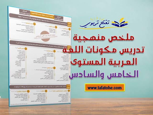 ملخص منهجية تدريس مكونات اللغة العربية المستوى الخامس والسادس