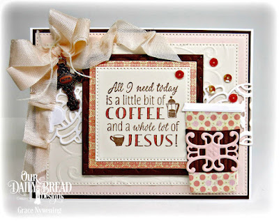 Our Daily Bread Designs Stamp Set: Rise and Shine, Our Daily Bread Designs Custom Dies:Beverage Cup, Art Deco, Trellis Strip, Pierced Squares, Pierced Rectangles, Layered Lacey Squares, Our Daily Bread Designs Paper Collection:Blushing Rose