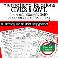 International Relations, Foreign Policy, Public Opinion, Mass Media, Civics and Government I Cans, Self-Assessment of Mastery, Student Ownership of Learning