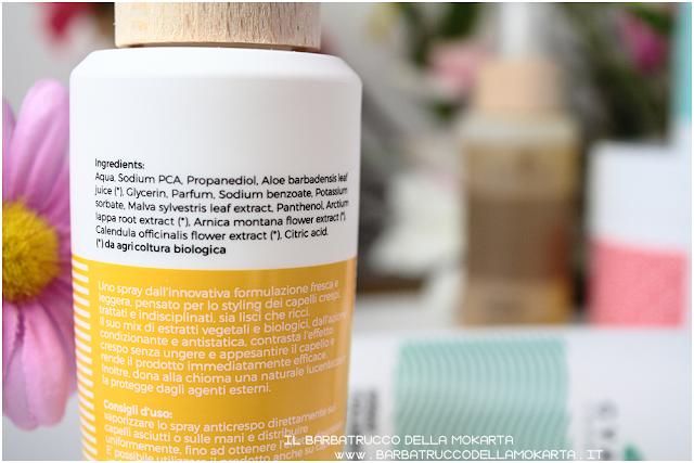 spray anti crespo inci gyada cosmetics, vegan bio, capelli hair routine