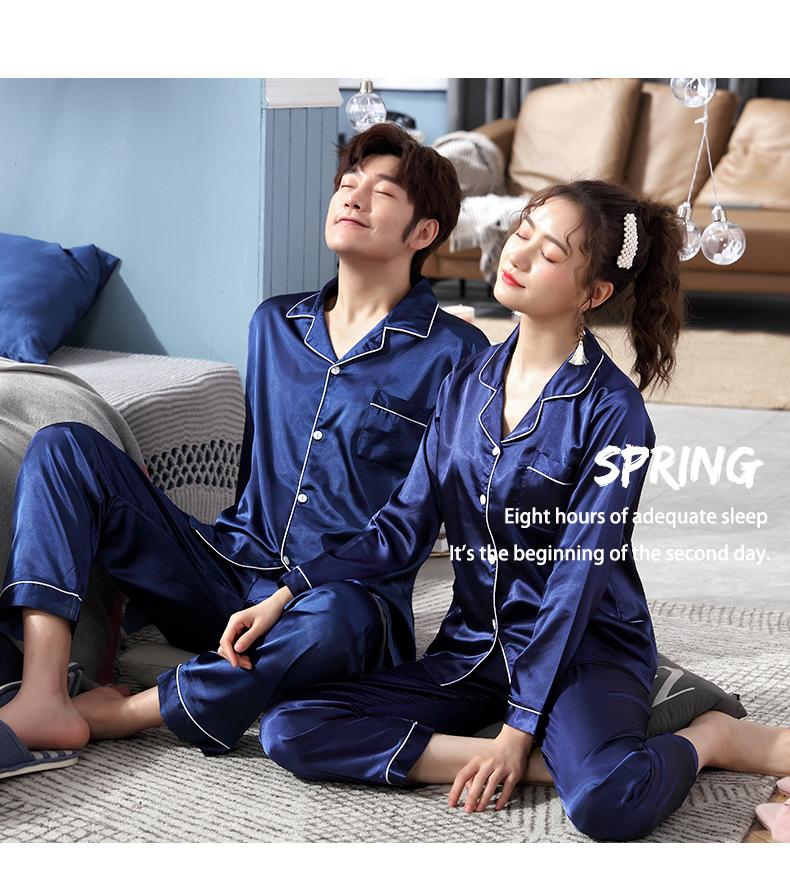 Đồ ngủ bộ cặp nam nữ màu xanh sang trọng 6