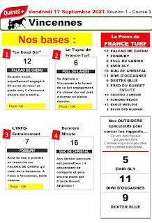 Pronostic quinté pmu vendredi Paris-Turf TV-100 % 17/09/2021