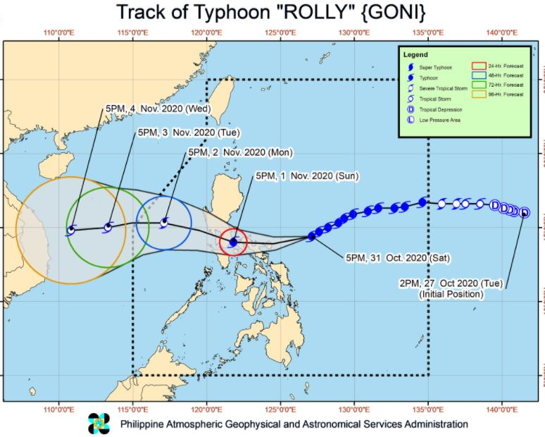 Signal No. 4 up in 2 areas as Typhoon Rolly threatens Bicol Region