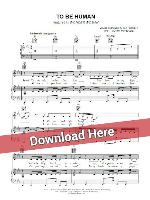 sia, to be human, labrinth, sheet music, piano notes, chords, download, musicnotes, sheetmusic, how to play, composition, transpose
