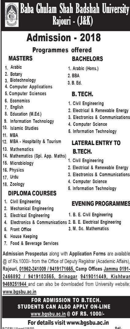 Baba Ghulam Shah Badshah University J&K Announces Admission in Various Programmes 2018