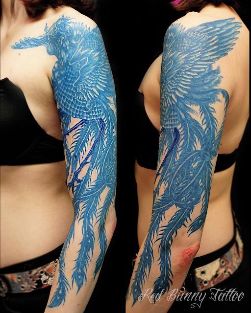blue tattoo phoenix タトゥー 鳳凰 青
