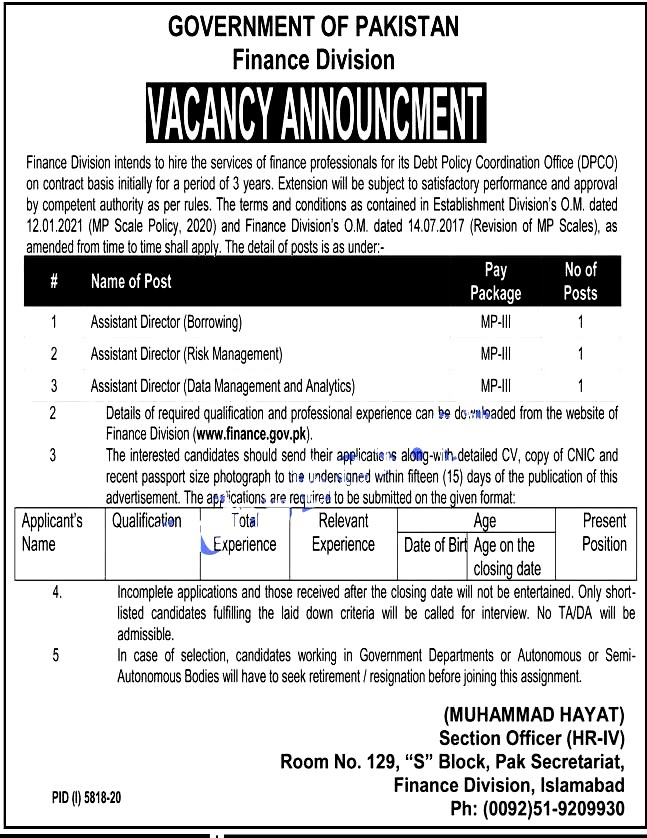 Latest Jobs in Finance Division Pakistan   April 2021 -Apply Online