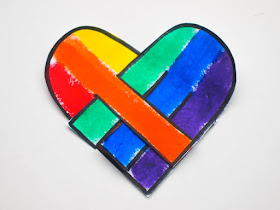 Printable Rainbow Danish Hearts- Color, cut out, and weave these lovely rainbow danish hearts