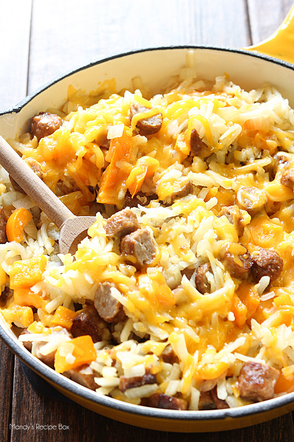 Cheesy Hash Browns and Sausage Skillet #sausage #vegan #dinner #healthyrecipes #yummy