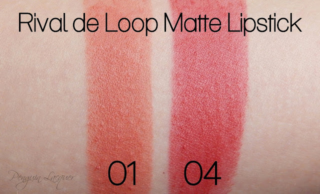 rival de loop matt lipstick 01 04 swatches
