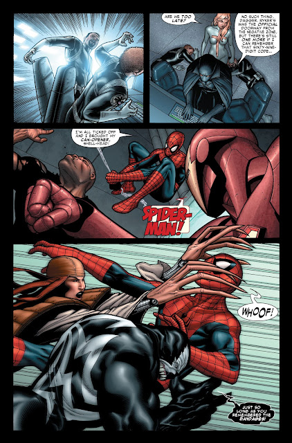 Spiderman beaten by Lady Deathstrike and Ironman fighting Luke Cage