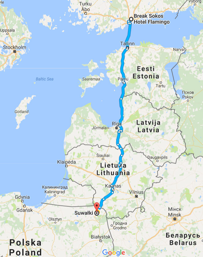 Ajaminen Via Baltican Ja Puolan Lapi
