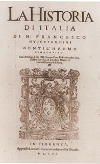 The title page from Guicciardini's work in an early printed version
