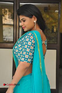 Telugu Actress Alekhya Stills in Green Saree at Swachh Hyderabad Cricket Press Meet  0066.JPG