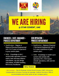 Star Cement Ltd Recruitment For Diploma And Degree Holders Engineers For Ras Al Khaimah, United Arab Emirates (UAE) Location