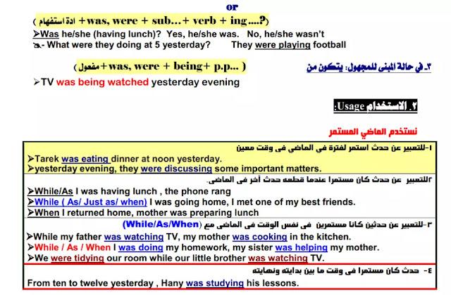 مذكرة قواعد اللغة الانجليزية للصف الاول الثانوي الترم الاول
