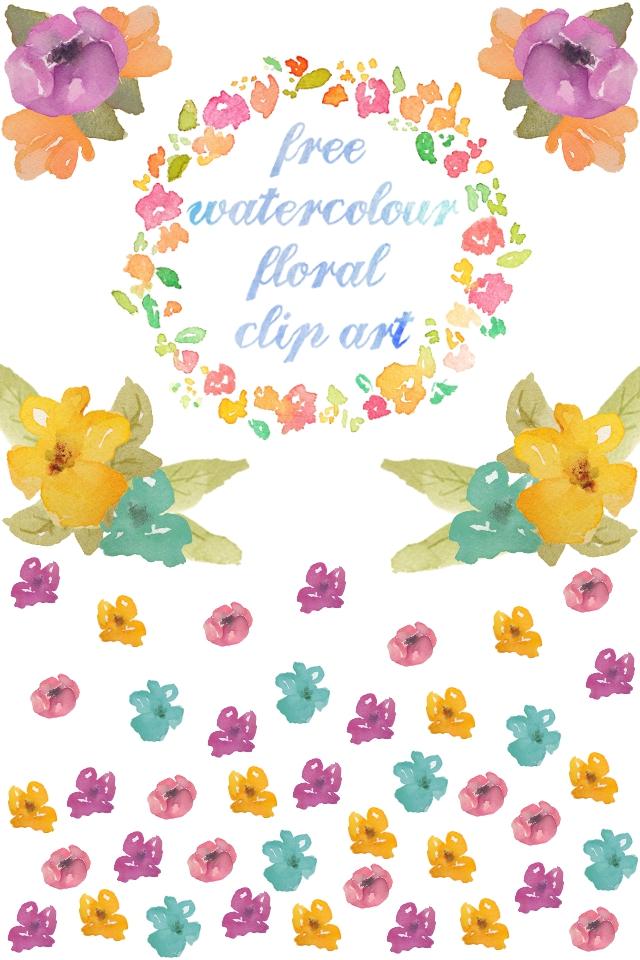 Free Watercolour Floral Clip Art.