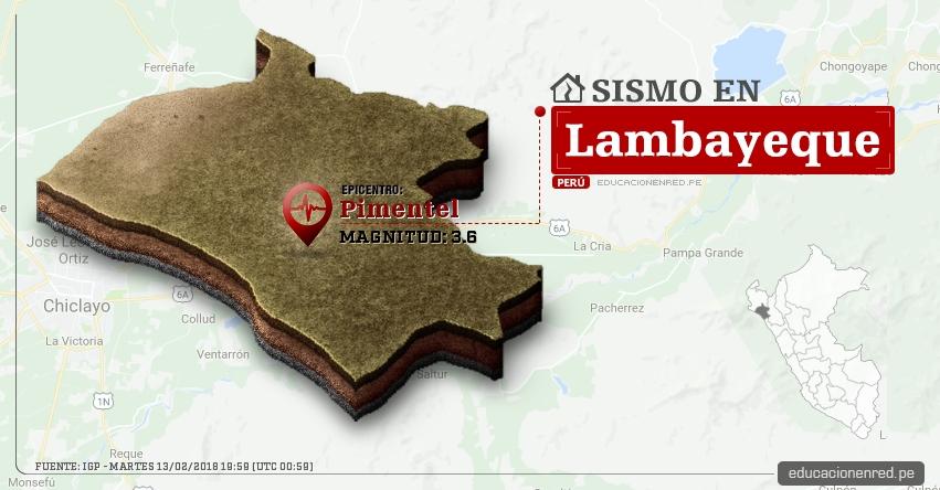 Temblor en Lambayeque de magnitud 3.6 (Hoy Martes 13 Febrero 2018) Sismo EPICENTRO Pimentel - Chiclayo - IGP - www.igp.gob.pe