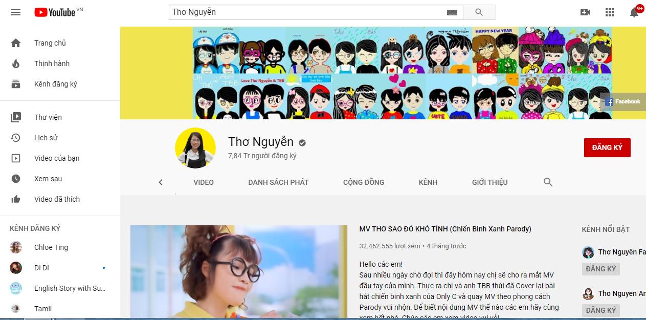 Kênh của Thơ Nguyễn kiếm được bao nhiêu tiền trên Youtube