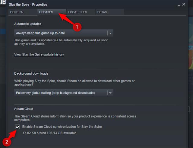 """انقر فوق علامة التبويب """"تحديثات"""" وتحقق من خيار """"تمكين مزامنة Steam Cloud لـ""""."""