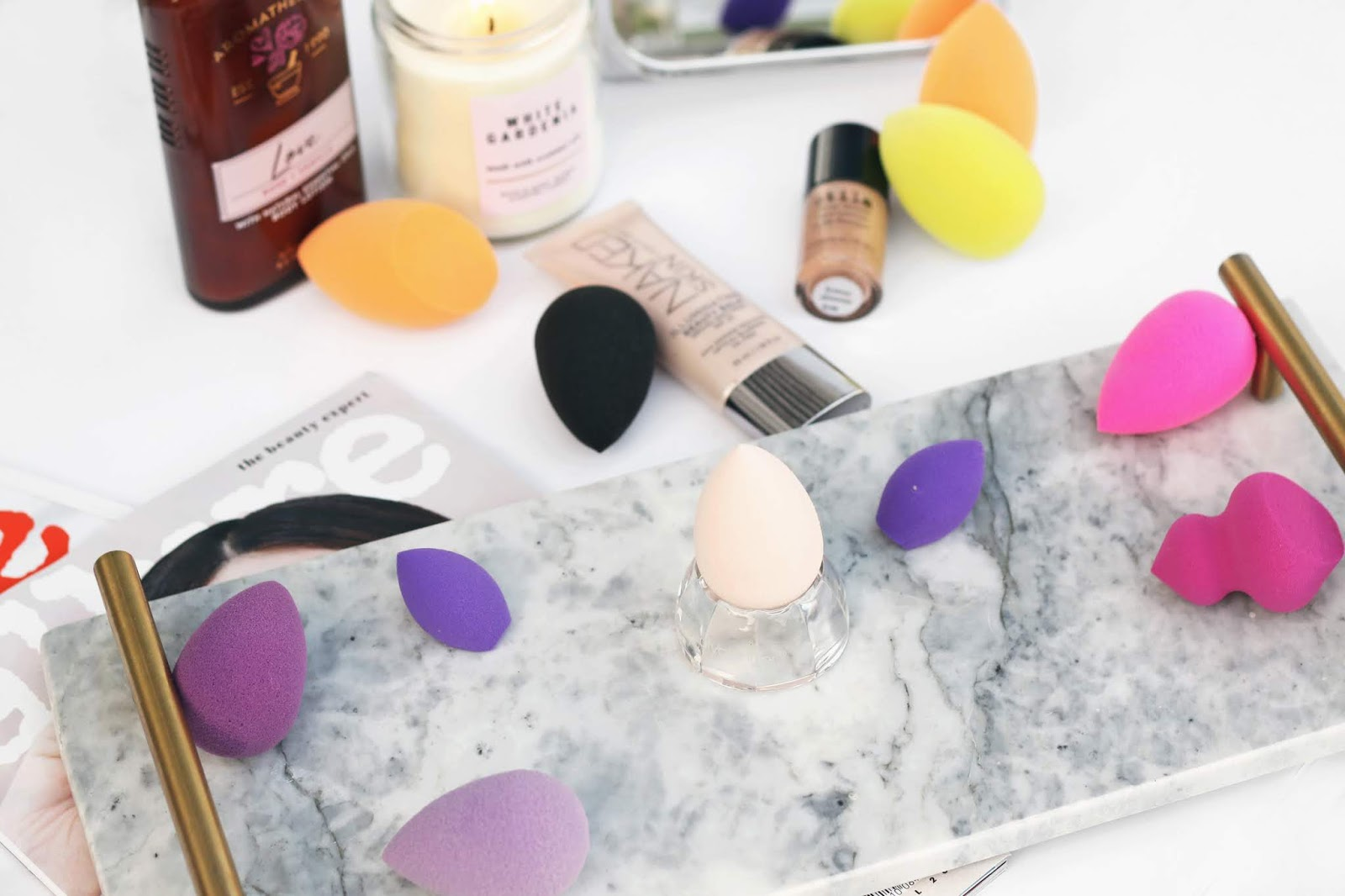 makeup sponges, makeup flatlay, beautyblender with cheaper alternatives, beauty comparisons, beauty blogger