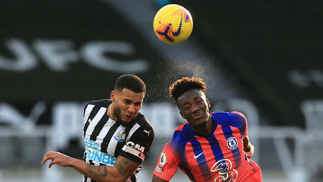 Newcastle defender and Chelsea forward Tammy Abraham in action
